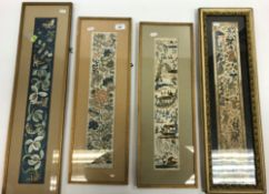 Four framed and glazed Chinese silk work kimono cuffs / panels, one blue ground decorated with