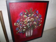 """SHADI MAHSA (Iranian) """"Floral still life"""", acrylic on canvas, signed lower right, inscribed lower"""