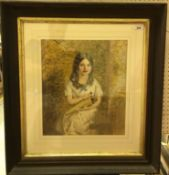 """19TH CENTURY ENGLISH SCHOOL """"Young girl seated with basket of flowers"""", pencil watercolour"""