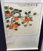 A collection of nine various 20th Century Chinese scrolls depicting animals including sparrows,