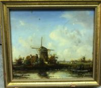 """A box containing DUTCH SCHOOL """"Study of windmills on river bank with fishing boat in foreground"""","""