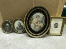 A collection of engravings depicting children and young ladies, many housed in gilt frames to