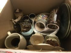 A box containing a Poole pottery bowl and vase, a Sylvac flower head dish No'd. 123 to back, various
