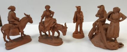 """A group of four 20th Century Italian terracotta figures including """"Fisherman mending net with fish"""