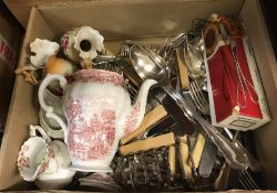 Two boxes of assorted china, to include Villeroy & Boch cut glass fruit bowl, assorted cutler etc