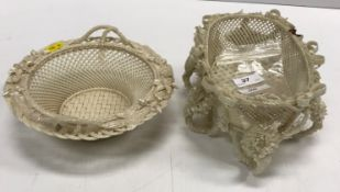 A Belleek oval basket with all-over ribbon tied an