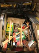 A collection of items, to include a box of assorted vintage toys, a box containing various cream