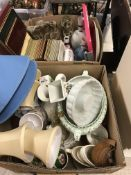 Two boxes of assorted glass and china wares, a box containing assorted table lamps and table mats, a