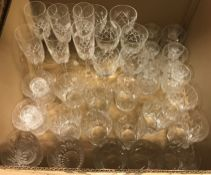 Two boxes of assorted glassware, to include Brierley and Edinburgh Crystal, an onyx fruit bowl and a