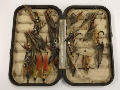 """A Hardy """"Neroda"""" salmon fly fisher's case with chenille lining containing a selection of large fully"""