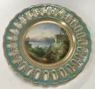 """A 19th Century Copeland cabinet plate with hand-painted scene inscribed """"Magadino"""" to front, bearing"""