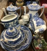 A collection of blue and white china wares to include Spode Italian coffee pots, teapots etc, a