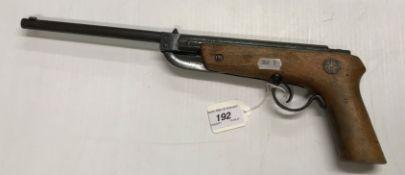 An FLZ .177 Luft pistol with wooden grip 42.5 cm long over all