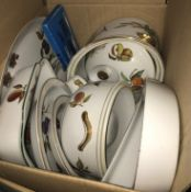 """A box containing a Le Creuset fondue set, box containing various Royal Worcester """"Evesham"""" dinner"""