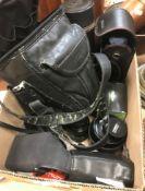 A collection of camera lenses, cameras, etc, to include an Soligor lens, a Vivitar lens, a Sigma
