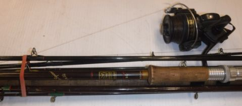"""A Hardy """"Fibalite Spinning"""" rod, a Hardy """"Jet"""", a Hardy """"Graphite"""" two piece trout fly rod and a"""