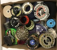 """A box of assorted fly fishing reels to include a Courtland """"Endurance Mark II"""" salmon fly reel, an"""