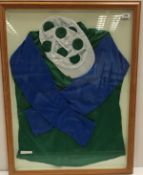 A framed and glazed set of Robert Sangster's silks in green, blue and white