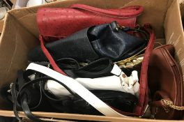 A box of assorted fashion handbags, to include two Ostrich skin style bags