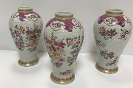 A set of three Samson of Paris urn-shaped vases de