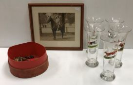 A set of five trumpet shaped glass goblets, each individually handpainted with hunting scenes of