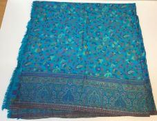 A modern wool and silk mix rectangular shawl with Paisley style design on a blue ground, approx