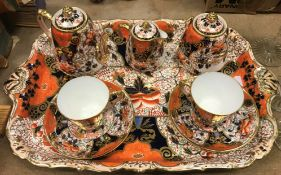 """A Davenport """"Japan"""" pattern coffee service comprising two cups and saucers, three piece tea set"""