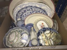 Three boxes of assorted decorative china wares to include transfer decorated jugs, washbowls,