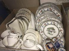"""A box containing a Royal Doulton """"Rondo"""" part tea service, Copeland Spode transfer decorated"""