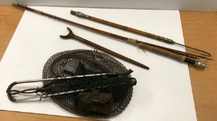A Continental metal chain link fisherman's keep net, an early landing net hoop, collapsible, a