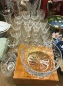 A collection of glassware to include Webb Corbett and other drinking glasses, a pair of candlesticks