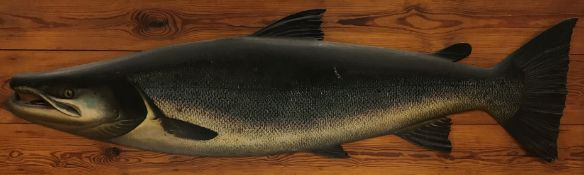 A carved and painted Salmon cast with well-painted features and carved fins and tail, fish size