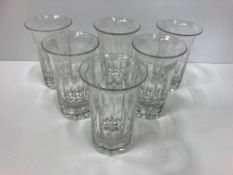 A set of six 19th Century French facet cut glasses with flared rims 10.5 cm high