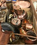 A collection of copper and other metal wares to include a two piece tea set comprising teapot and