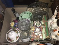 Three boxes of assorted china and glassware to include a pair of Kutani style baluster shaped