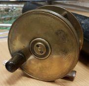 """A Hardy brass Birmingham 4½"""" plate wind reel 10 cm"""