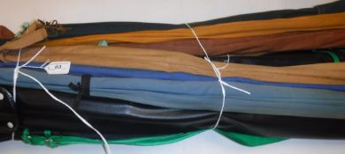 A collection of nine assorted fishing rods to include fly fishing, spinning and coarse fishing