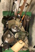 A box of various shooting requisites including various canvas bags, gun rods, gun rack, various