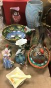 A collection of decorative china ware to include a New Hall lustreware lily and kingfisher decorated