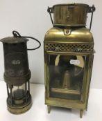 "A 19th Century Scottish brass carbide lamp, the rectangular case bearing plaque inscribed ""John"
