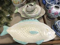 A Shorter & Son Ltd of Stoke on Trent matt glazed fish service comprising two serving dishes, jug
