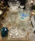 A collection of assorted glassware to include a Medina vase 14 cm high, various glass fruit bowls,