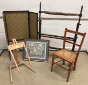 A collection of items comprising a circa 1900 rosewood three section folding fire screen, 50.5 cm