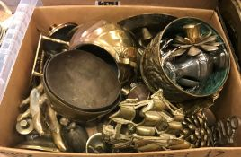 Two boxes of metal wares to include assorted brass animal figurines, three copper and brass ewers
