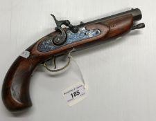 A modern hammer action muzzle loading pistol by Dikar of Spain .45 calibre, black powder No.d
