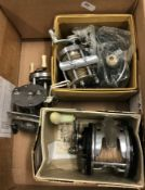 """A collection of five fishing reels to include a Pflueger """"Supreme"""" multiplying reel, a Pflueger """""""