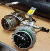 """An Allcock """"Felton Crosswind"""" No. 2 fixed spool reel 11.5 cm and an Ambidex No. 1 fixed spool reel"""
