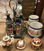 """A Davenport """"Japan"""" pattern five piece cruet with plated mounts and stand, approx 25.5 cm high"""