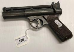 "A Webley & Scott Ltd ""The Webley Senior"" .177 air pistol No'd 114 (half of one side of the"