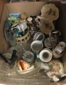 WITHDRAWN A box containing assorted decorative china wares to include commemorative beakers, etc,